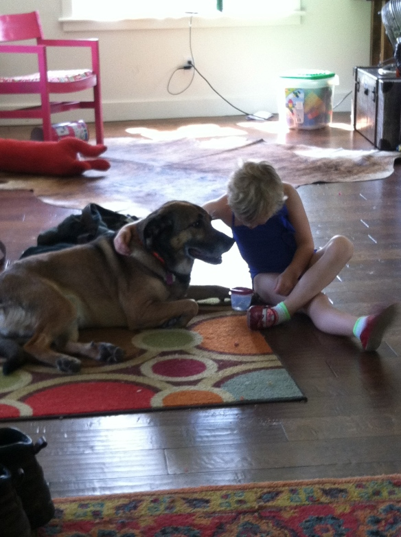 New allies brainstorming how to get rid of furless puppy who is always attached to mama.